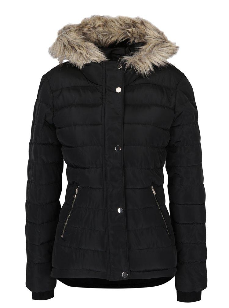 Černá prošívaná zimní bunda s umělou kožešinou Dorothy Perkins