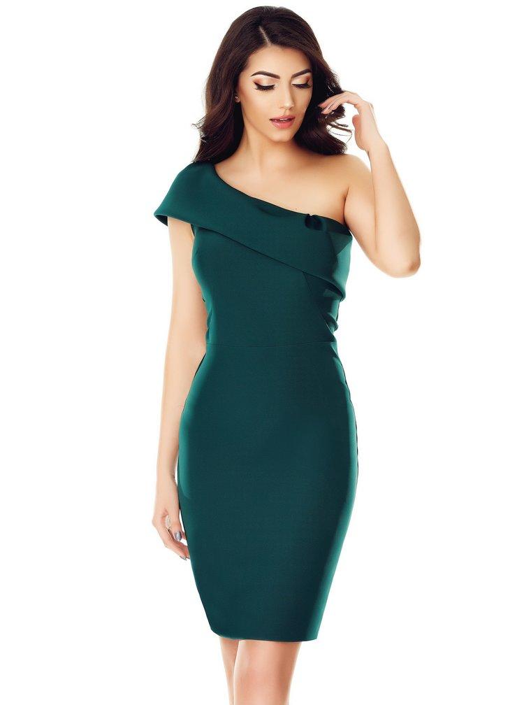 Tmavě zelené asymetrické šaty Miss Grey Elida