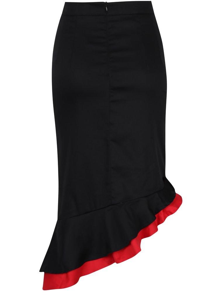 Červeno-černá pouzdrová sukně s volánem Dolly & Dotty Madison