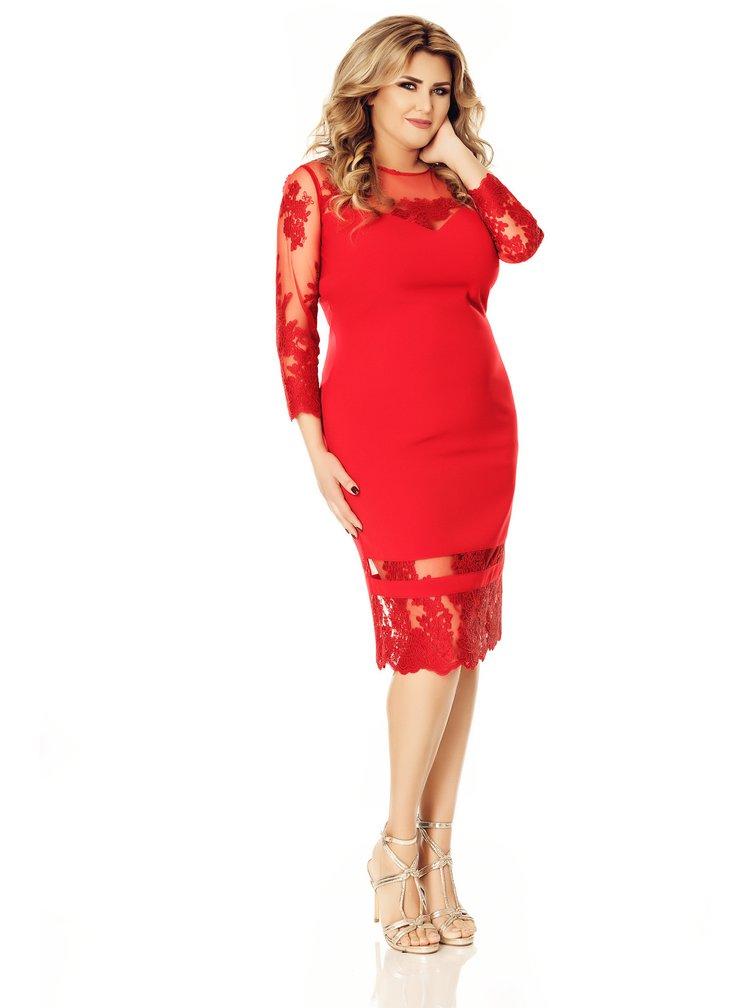 Červené plus size šaty s 3/4 rukávem Miss Grey Gratiela