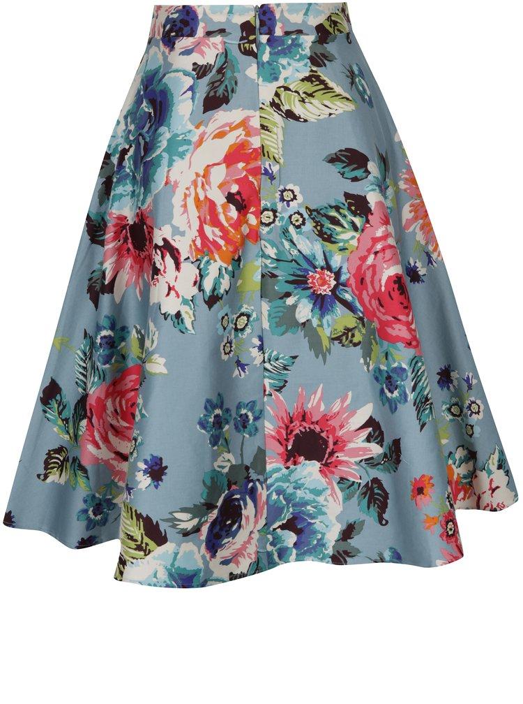 Modrá květovaná áčková midi sukně Dolly & Dotty Blossom