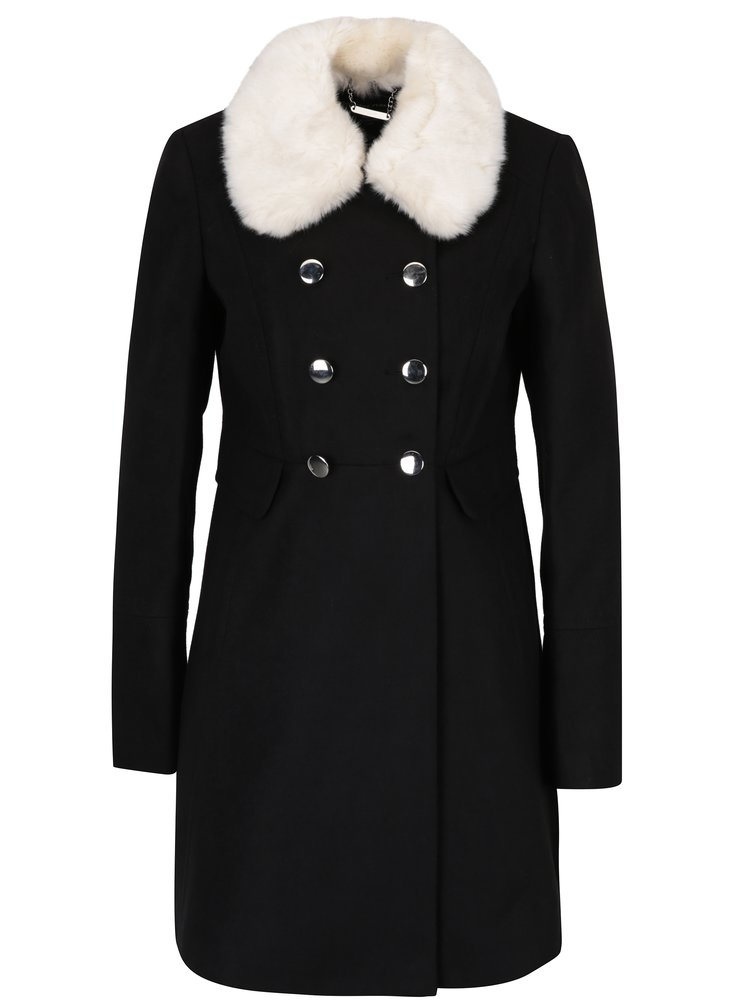 Černý kabát s umělou kožešinou Dorothy Perkins