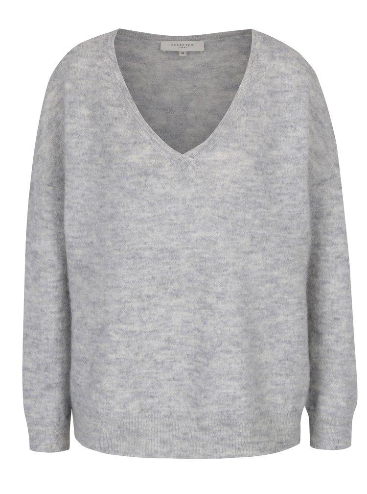 Světle šedý vlněný svetr s příměsí mohéru Selected Femme Livana