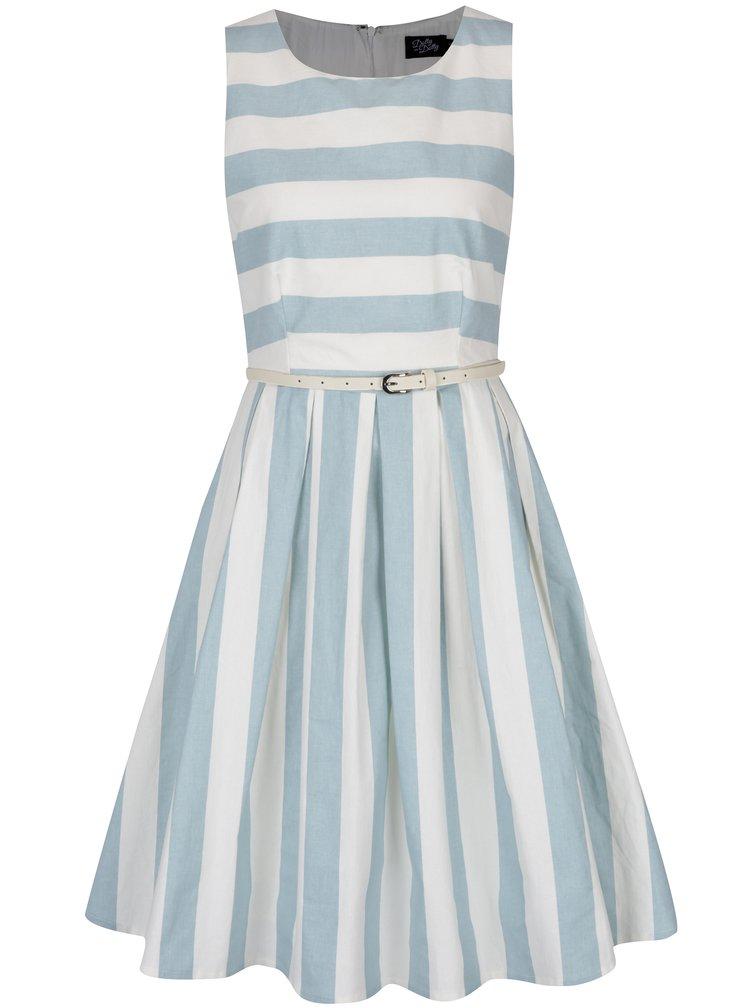 Světle modré pruhované šaty s páskem Dolly & Dotty Annie