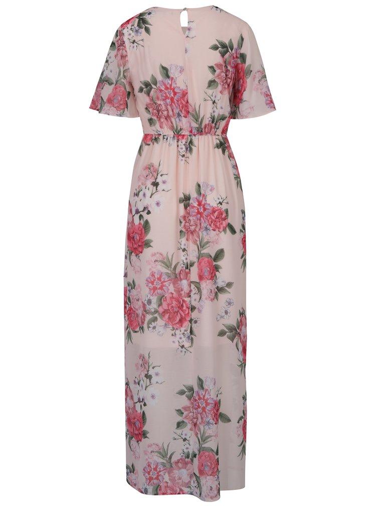 Růžové květované maxišaty s rozparkem Dorothy Perkins Petite