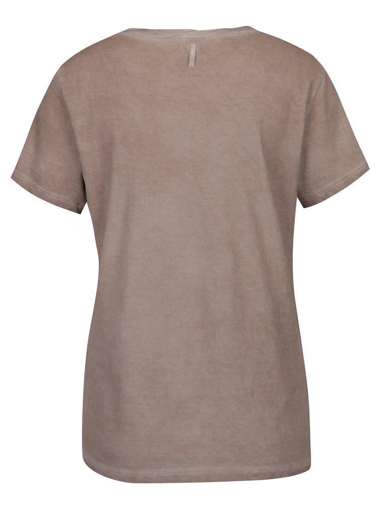 Béžové tričko s potlačou DEHA