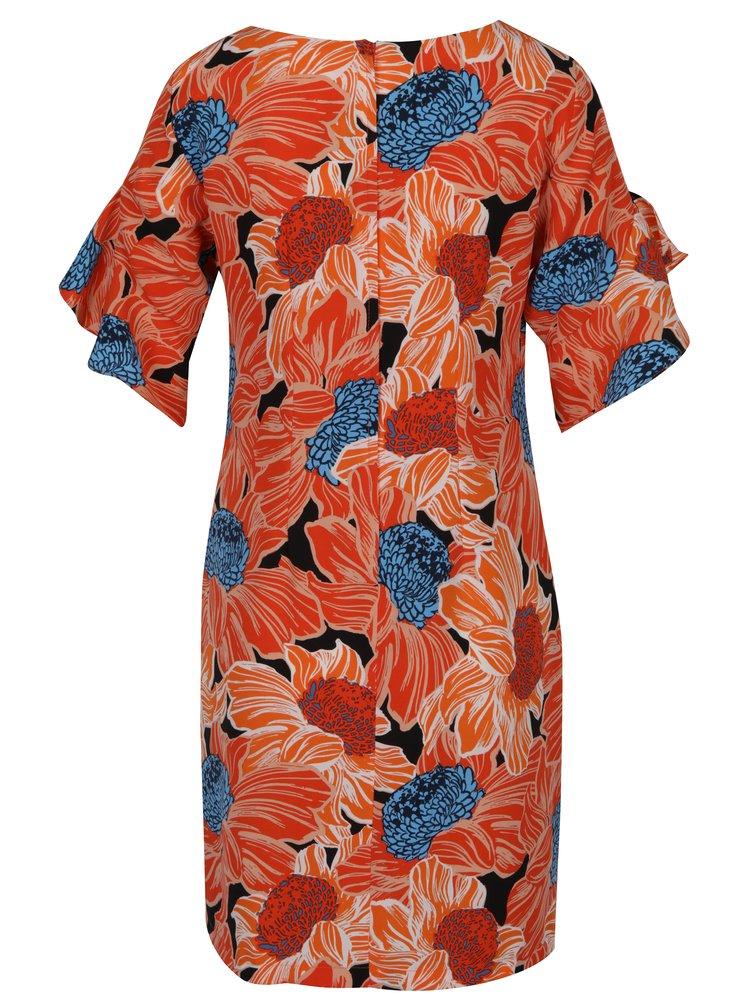 Oranžové květované šaty s volány na rukávech Dorothy Perkins