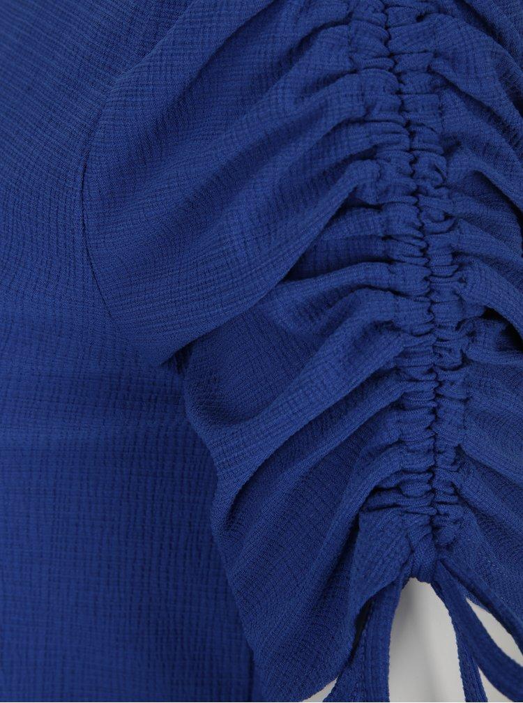 Modré tričko s řasením na rukávech Dorothy Perkins Petite