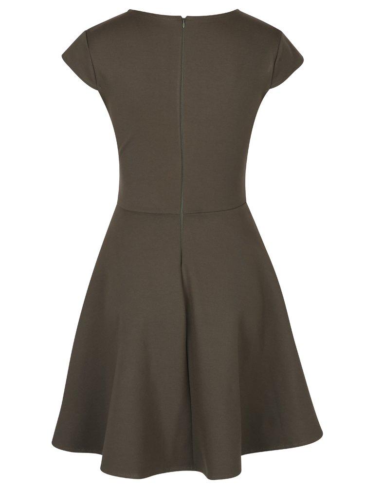 Khaki šaty s překládaným výstřihem ZOOT