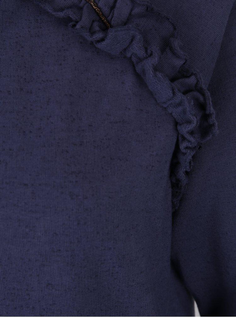 Bluză albastră cu volane delicate - DEHA