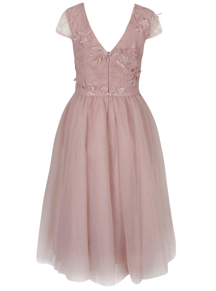 Růžové šaty s květinovou aplikací Chi Chi London