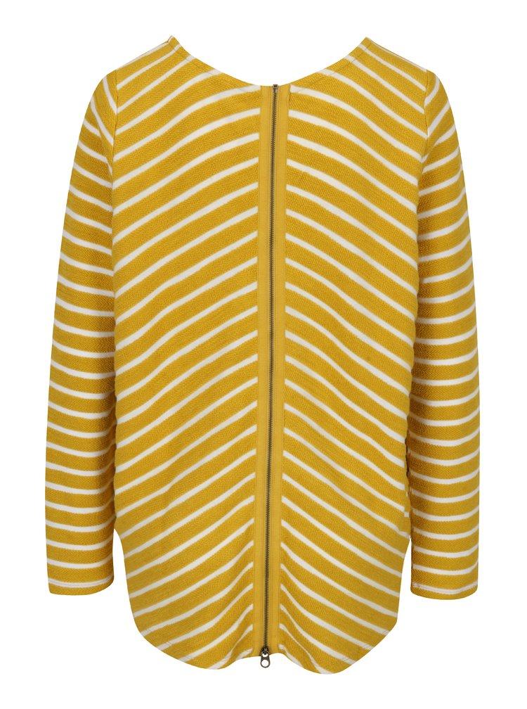 Žlutý pruhovaný dámský svetr se zipem Tom Joule Caroline