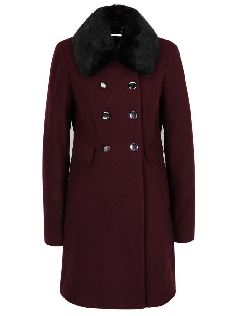 Vínový kabát s umělou kožešinou Dorothy Perkins