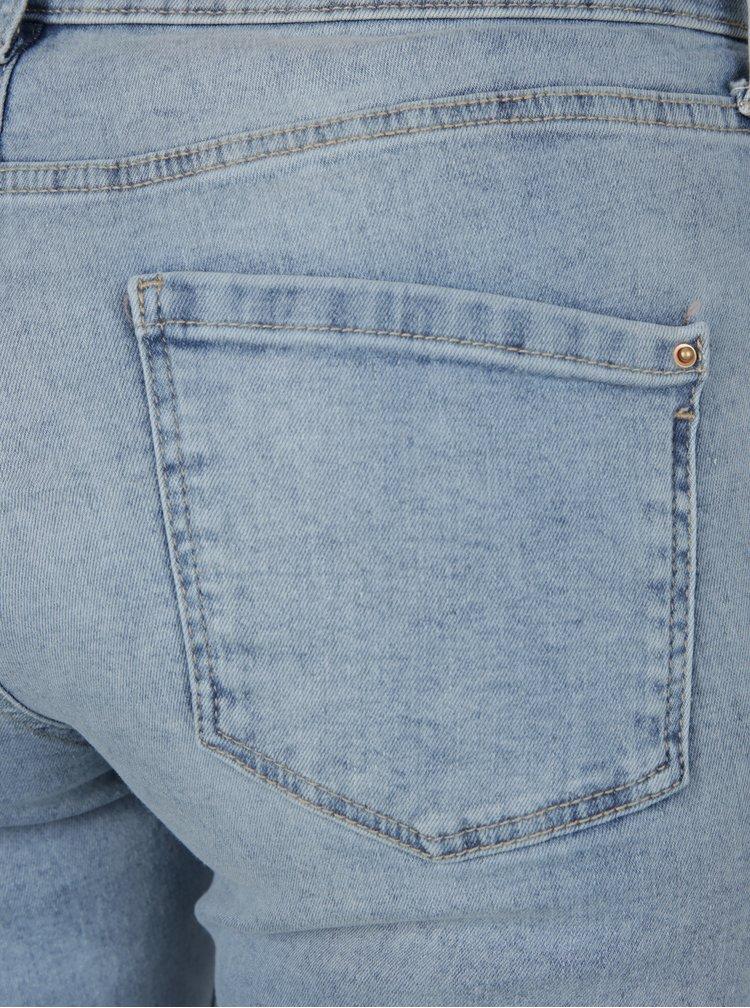 Světle modré zkrácené ultra soft džíny s potrhaným efektem Dorothy Perkins