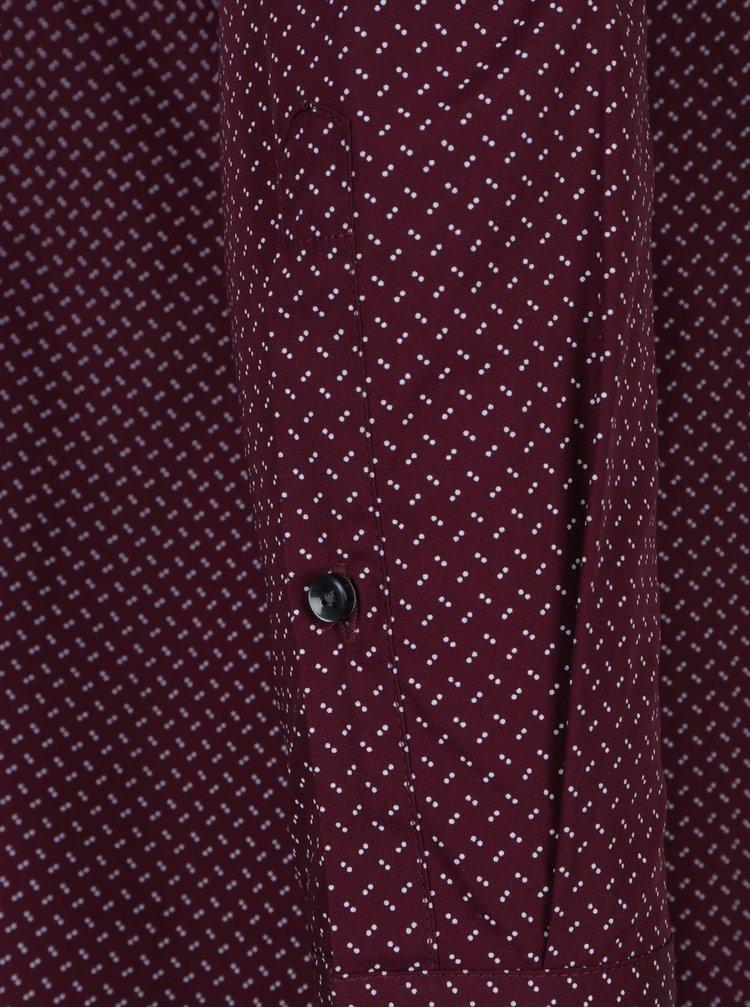 Vínová formální košile s bílými puntíky Seidensticker