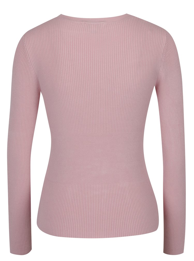 Světle růžový svetr se šněrováním Miss Selfridge