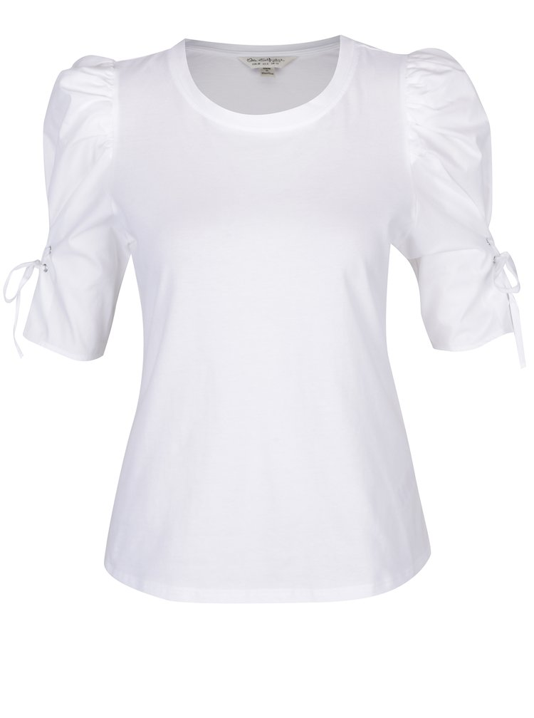Bílé tričko s nařasenými rukávy a šněrováním Miss Selfridge