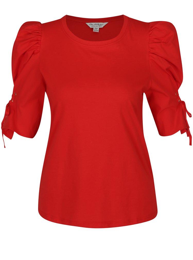Červené tričko s nařasenými rukávy a šněrováním Miss Selfridge