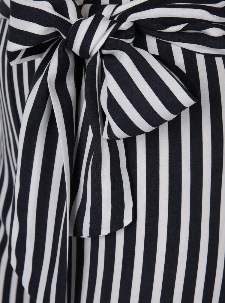 Krémovo-černé pruhované volné kalhoty se zavazováním Miss Selfridge