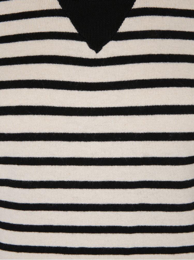 Pulover negru&alb din jerseu cu model în dungi Scotch & Soda