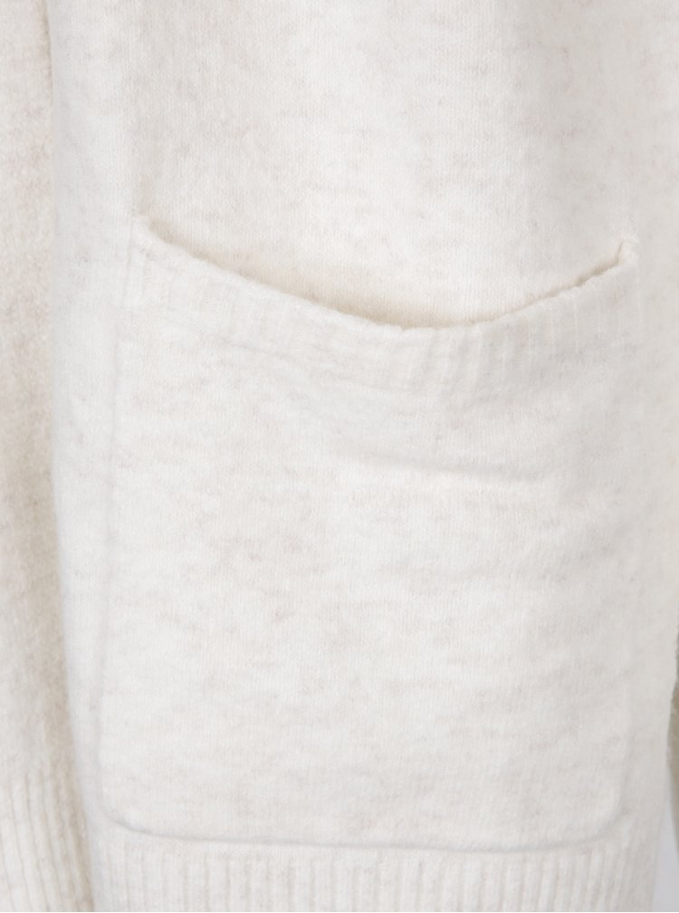 Krémový dlouhý žíhaný kadrigan s kapsami Miss Selfridge