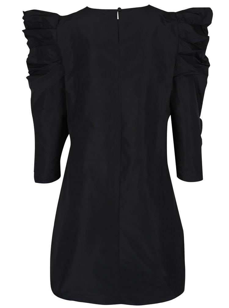 Černé šaty s 3/4 nařasenými rukávy Miss Selfridge
