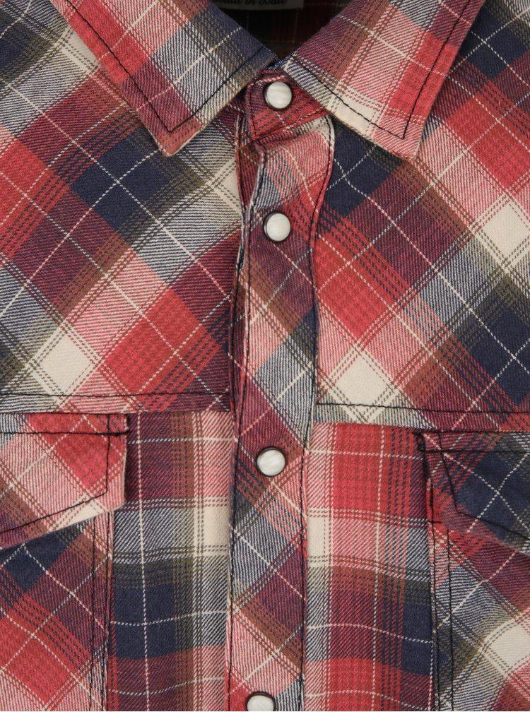 Modro-červená kostkovaná slim fit košile Blend
