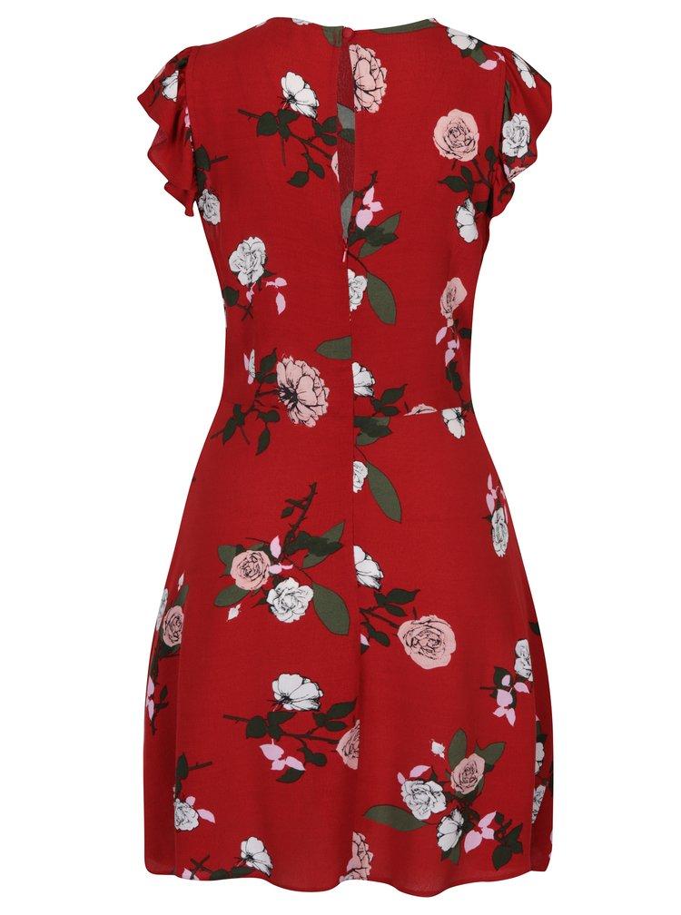 Červené květované šaty s volány Miss Selfridge