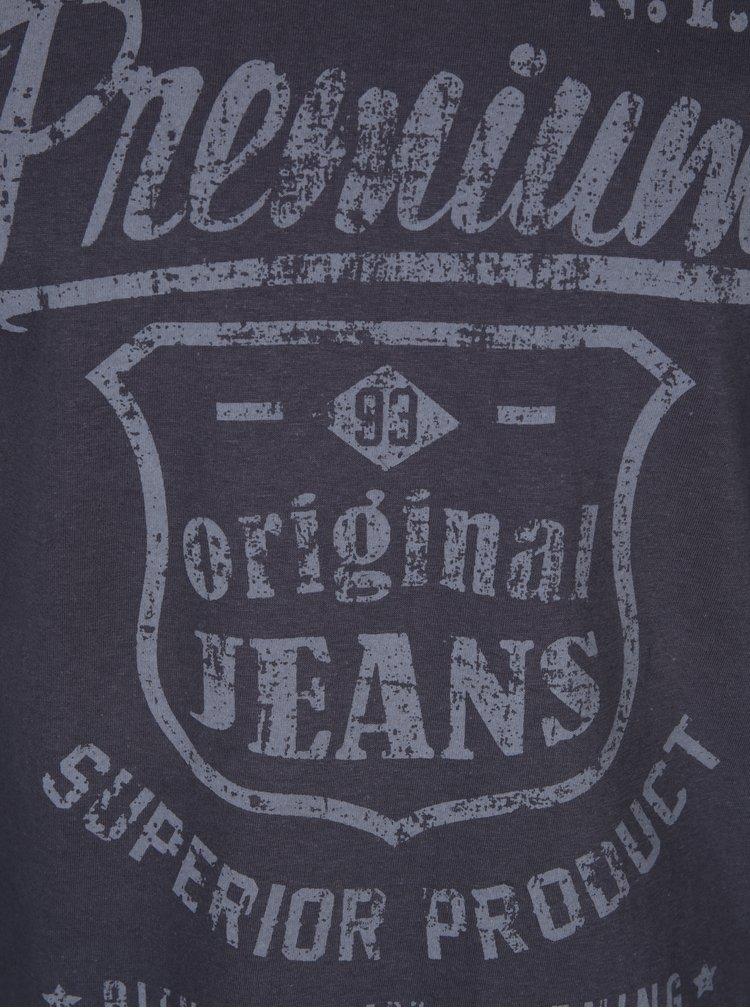 Bluza de bumbac gri inchis cu print - Blend