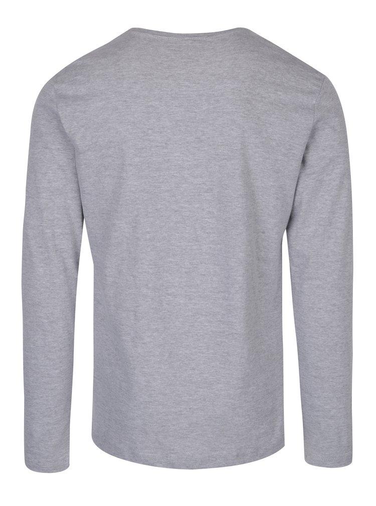 Světle šedé tričko s potiskem a dlouhým rukávem Blend
