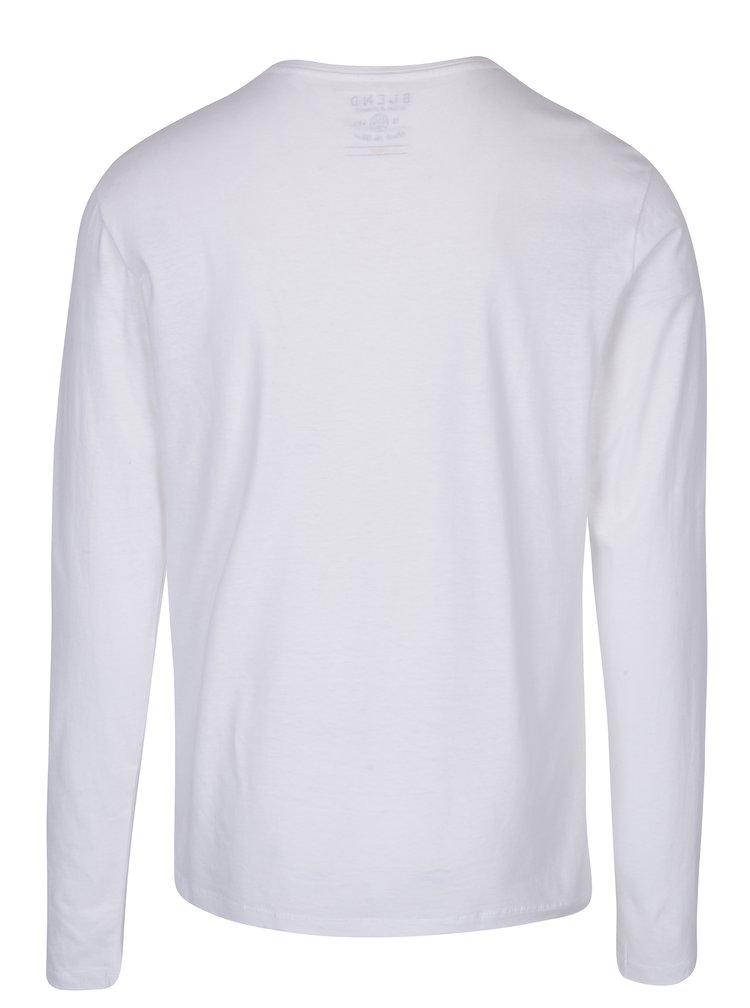 Biele tričko s potlačou a dlhým rukávom Blend