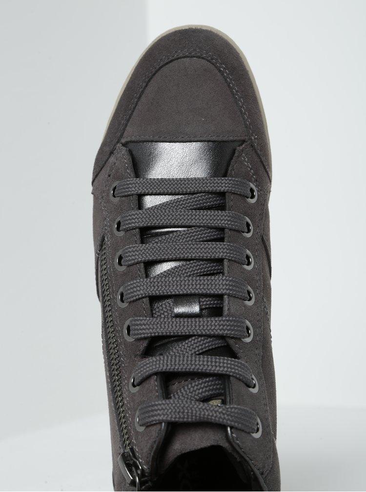 Tmavě šedé dámské semišové kotníkové tenisky Geox Myria