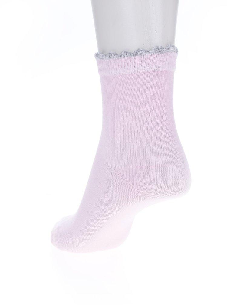 Sada tří párů holčičích vzorovaných ponožek v růžové a šedé barvě 5.10.15.