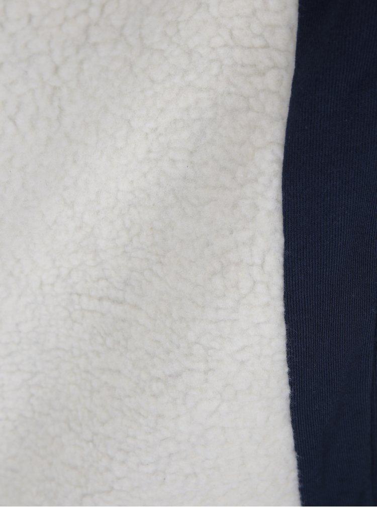 Tmavě modrá pánská mikina s kapucí a umělým kožíškem Blend