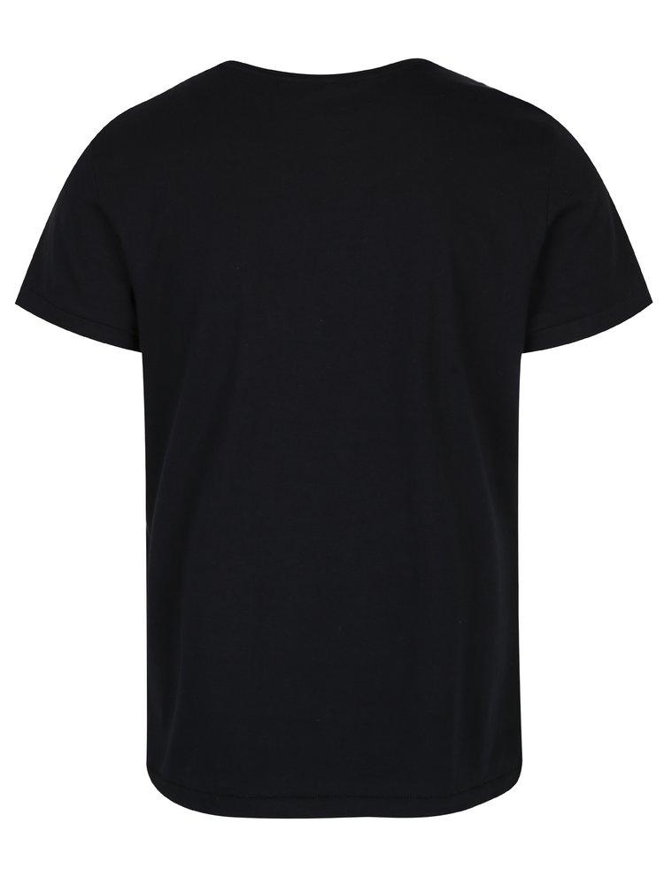 Tricou negru din bumbac cu print - Blend