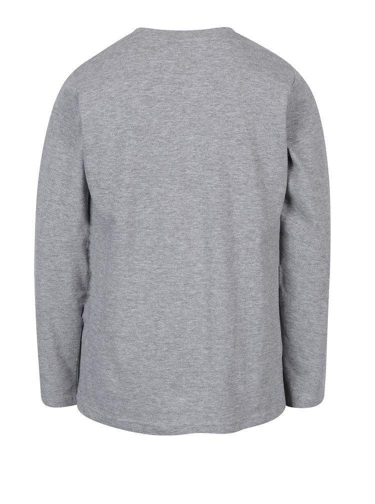 Šedé klučičí žíhané tričko s potiskem 5.10.15.