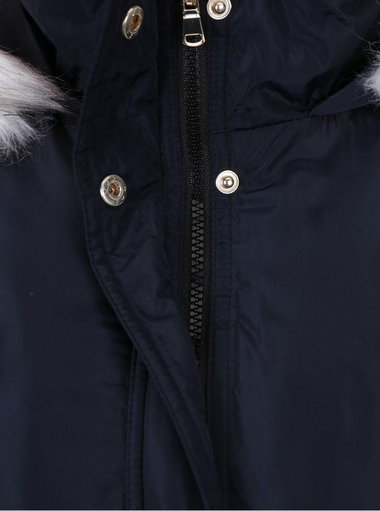 Tmavě modrá zimní lesklá parka s kapsami Dorothy Perkins