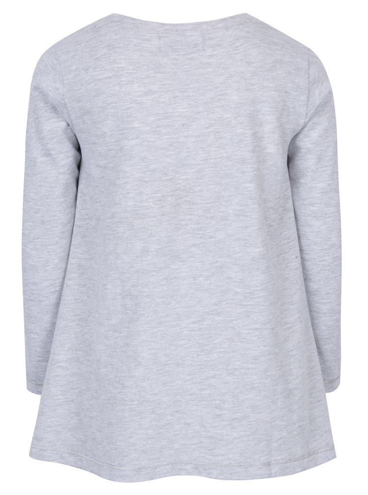 Šedé dlouhé holčičí tričko s flitry 5.10.15.