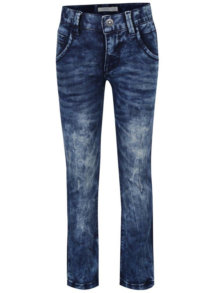 Tmavě modré klučičí slim džíny s vyšisovaným efektem name it Tune