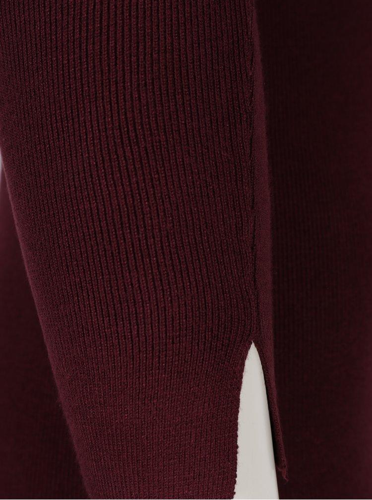 Vínový dlhý sveter s ozdobnými zipsami Dorothy Perkins