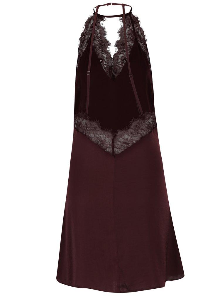 Vínová noční košilka s krajkovými detaily Y.A.S Mona