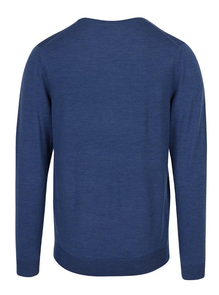 Modrý lehký svetr z Merino vlny Selected Homme Tower