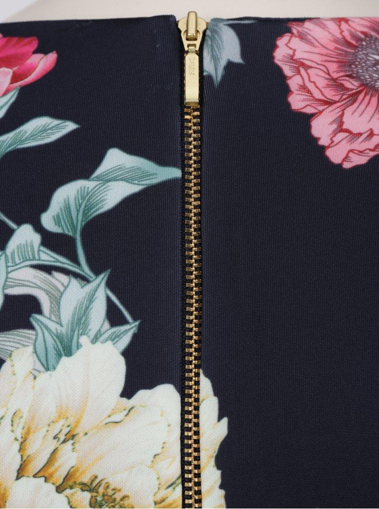 Tmavě modré pouzdrové šaty s květinovým potiskem Dorothy Perkins