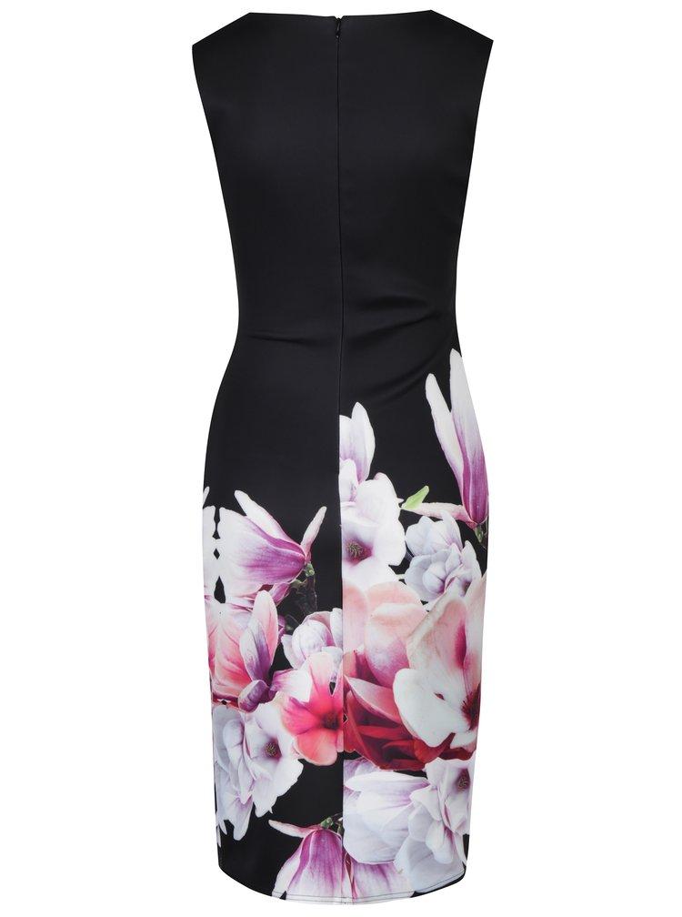 Černé pouzdrové šaty s řasením a květinovým potiskem Dorothy Perkins