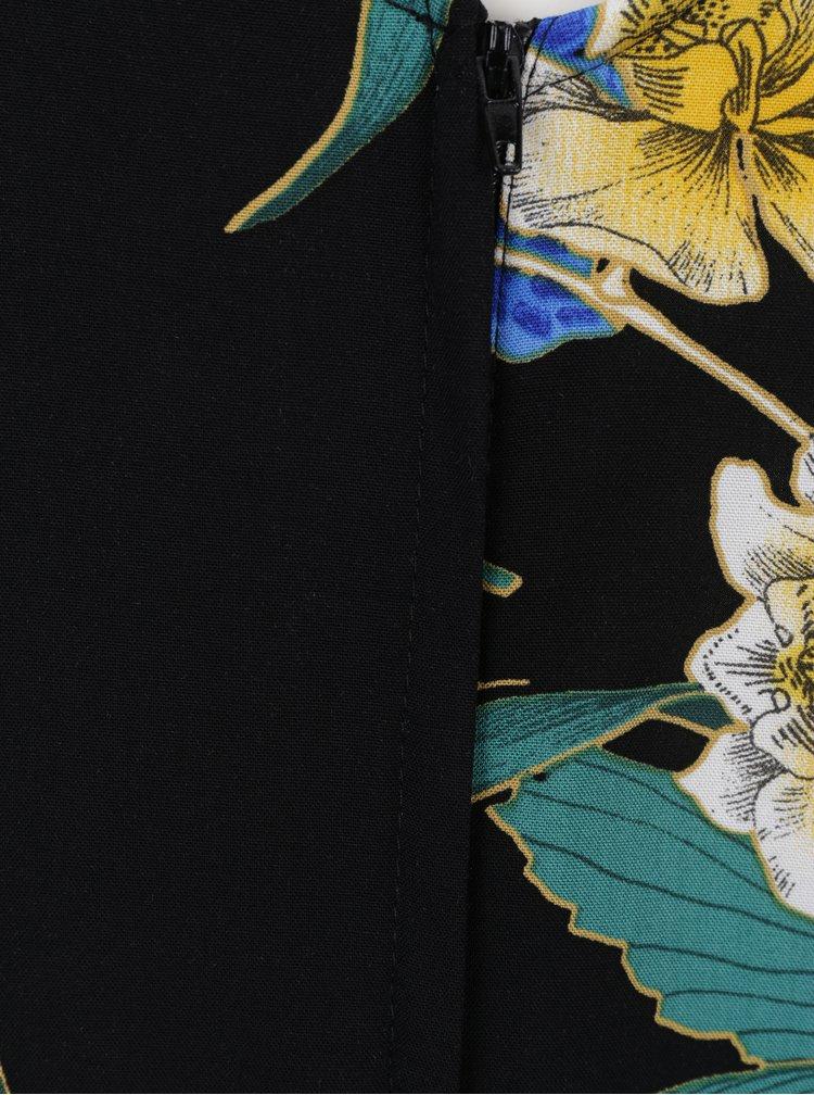 Černé maxišaty s květovaným potiskem Dorothy Perkins