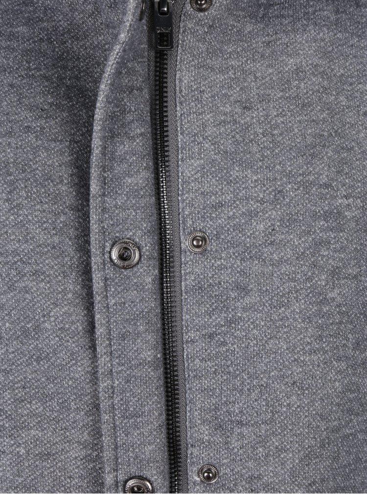 Světle šedý žíhaný lehký kabát s kapucí ONLY Sedona