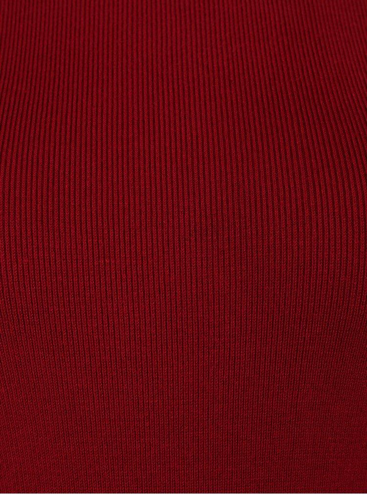 Červené svetrové šaty s průstřihy na ramenou Dorothy Perkins