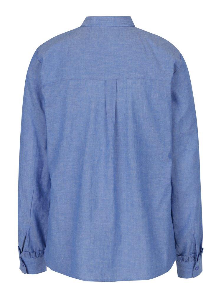 Modrá košeľa s volánikmi a dlhým rukávom Dorothy Perkins