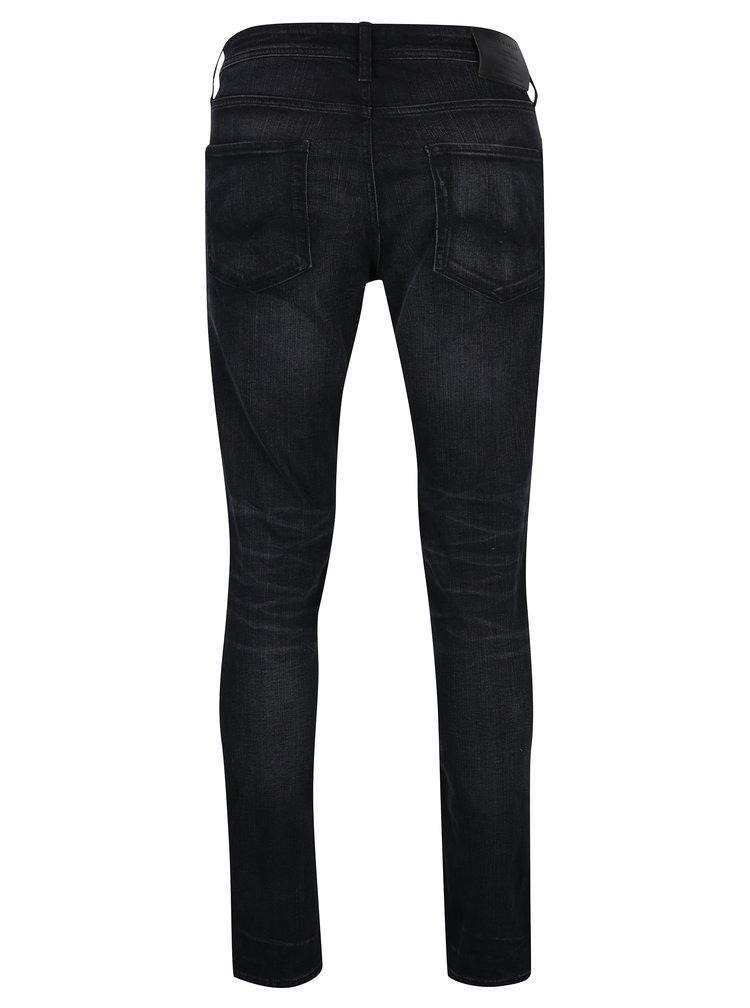 Černé slim fit džíny s vyšisovaným efektem Jack & Jones Tim