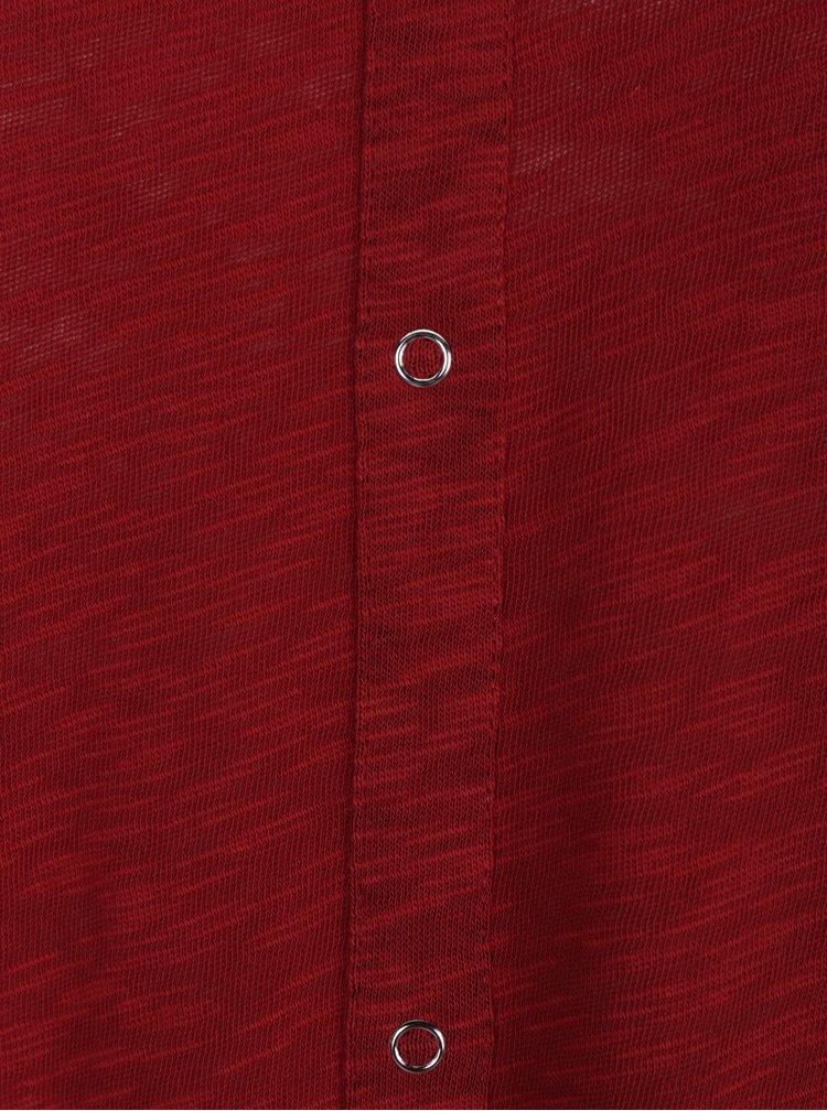 Vínové žíhané dlouhé tričko s detaily na zádech ONLY Casa